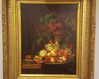 SALE Vintage Still Life Painting on Canvas