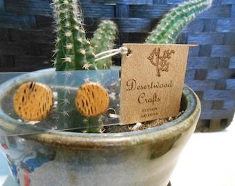 Sweet Desertwood Cactus Post/Stud Earrings - Look like Wood!  Handmade Rockabilly and Country