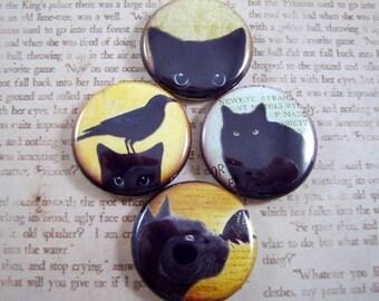 Cat Magnets, Cat Pins, Black Cat Magnets, Fridge Magnets, Cabochons