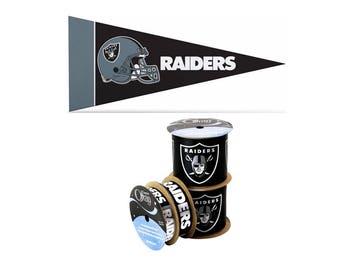 NFL Oakland Raiders Ribbon, 4-pack of Ribbon & Mini Pennant, Licensed NFL Offray Ribbon