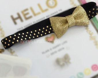 Planner Band. Gold Shimmery Bow Knot with Black gold Dots Elastic Band. Erin Condren /Plum Paper Design / filofax
