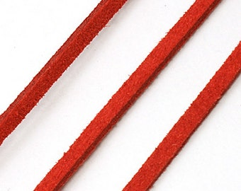 Dark Red Suede Cord - 5 yards Microfiber Fax Suede Cord -  3mm x 1.5mm- Bracelet making Supplies  -W0161