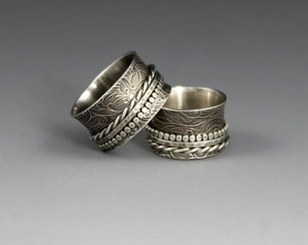 MADE TO ORDER - Sterling Silver Spinner Ring - Textured Twiddle