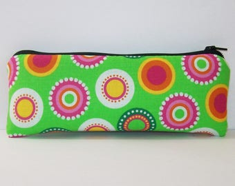 "Pipe Pouch, Retro Circles Bag, Pipe Case, Pipe Bag, Padded Pipe Pouch, Stoner, Vape Pen Bag, 420, Weed, Hippie Bag, Cute Pouch - 7.5"" LARGE"