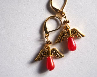 Angel earrings, gold lever back with red pearl beads.