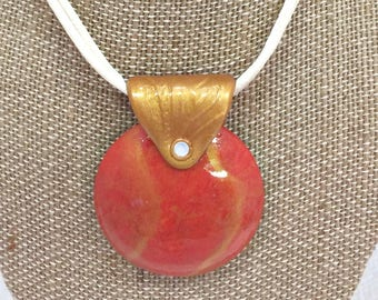 Red Gold Domed Pendant Necklace 17408 OOAK