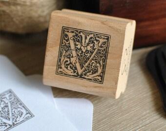 Letter V Rubber Stamp, Monogram V stamp, Wood Mounted Rubber Stamp, Alphabet letter V stamp