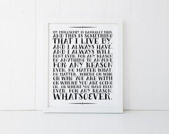 Philosophy Print » The Office Print » The Office TV Show » TV Quote Print » Quote Print » Michael Scott Print » Office Decor » Digital Print