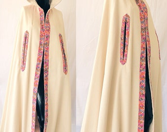 Boho Wedding Cape 70s Embroidered Hooded Bohemian Wedding Cape Vintage 70s Francine By Hillie