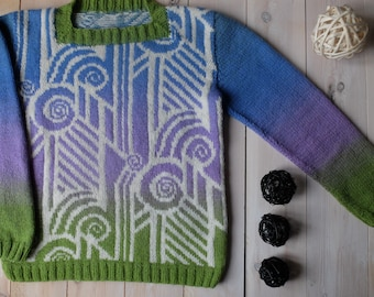 SOLD. Hand-knit sweater Lollipop