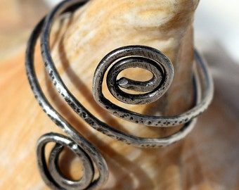 Wire Wrapped Ring, Patina, Sterling Silver Ring, 16 ga, Hamamered, Customize, Jewerly, Wire Ring
