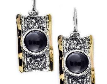 Black Onyx Earrings, Sterling Silver Earrings, 9 karat gold Earrings, Black Gemstone Earrings, Teardrop Earrings, handmade