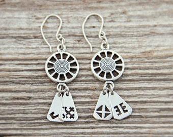 Silver Sun symbol, Latvian signs earrings