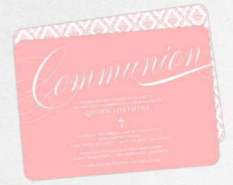 First Communion Invitation, First Holy Communion Invitation, Religious, Print, PDF, DIY Communion Invite, Damask, Calligraphy, Pink, Quinn