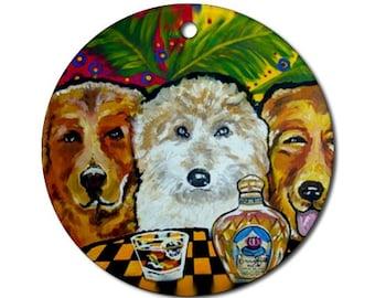 3 Dogs Crown Royal Folk Art Fun Round Porcelain Ornament