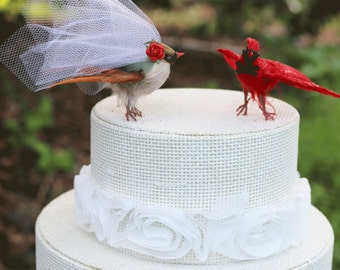 Cardinal Wedding Cake Topper: Flying Bride & Groom Love Bird Cake Topper