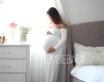 Maternity dress long sleeve Gender Reveal maternity gown-  off shoulder signature *