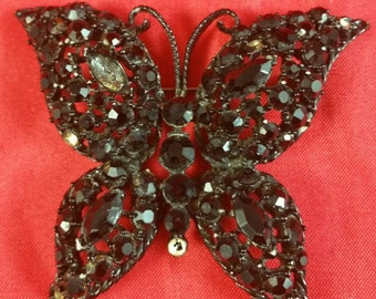 Jappaned Black Rhinestone Butterfly Brooch Pin Missing Stones Unsigned
