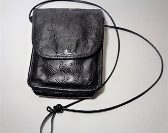 Vintage Carlos Falchi Crossbody Black Leather Purse Embossed Petroglyph Designs EXCELLENT Vintage Falchi Leather Messenger Bag c.1980 Signed