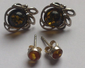two pairs of Amber and sterling silver earrings
