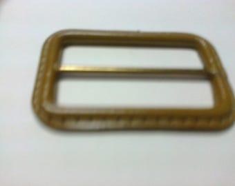 Medium brown leather rectangular buckle passage 5cm * BO33 *.