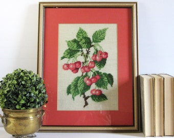 Red Cherries - Vintage Framed Needlepoint Art - Embroidered Fruit Botanical Art - Fibre Art Embroidery - Farmhouse Decor - Red Wall Decor