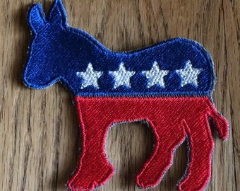 Political Republican Elephant or Democrat Donkey Sew On Patch ~ Election Day