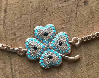 Four leaf clover gold plated bracelet, make a wish, friendship gift, good luck charm, trébol de cuatro hojas, buena suerte, chapa de oro