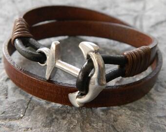 mens leather bracelet mens anchor bracelet mens bracelet mens gift for him brother gift for men husband gift wrap bracelet boyfriend jewelry