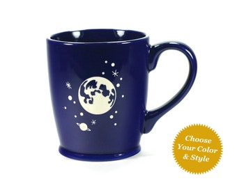 Full Moon and Stars Mug - Choose Your Cup Color