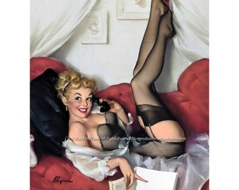 Elvgren Pinup Girl Card - Phone Call - Repro Greeting Card