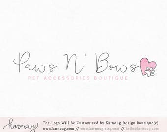 Paw Logo Heart Logo Pet Shop Logo Paws Logo Premade Logo Watermark Logo Business Logo Branding Logo Custom Logo Logos and Watermarks