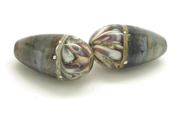 Handmade lampwork beads. Bead pair. Earring pair. Glass beads. Glass drops. SRA