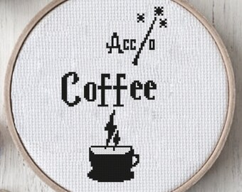 Hogwarts Cross Stitch Pattern, harry potter, Cross Stitch Pattern, Kitchen Cross Stitch, Modern Pattern, PDF Download, Coffee cross stitch