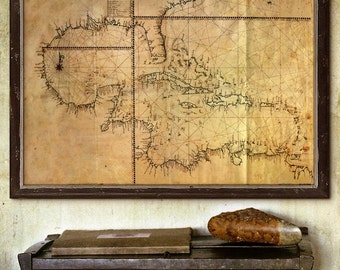 """Map of Caribbean and Gulf of Mexico 1770, Gulf of Mexico, West Indies map in 4 sizes up to 54x36"""" (140x90cm) - Limited Edition of 100"""