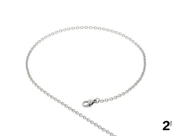Thin 2mm Cable Chain Necklace Made from 316L Stainless Steel for Women and Men Choose from 18in to 40in