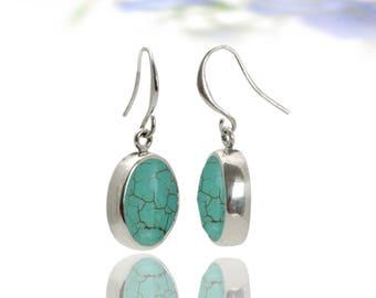SUMMER SALE - Turquoise earrings,silver earrings,bezel earrings,December birthstone earrings,bridal earring,dangle