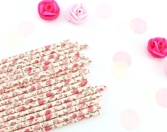 Blush Floral Paper Straws | Vintage Floral Wedding Straws | Blush Floral Straws | Baby Bridal Shower | Wedding Shower | Garden Tea Theme