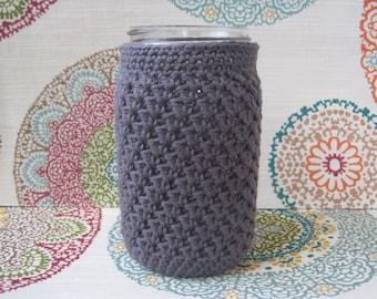 Crochet Mason Jar Cozy -Quart Jar Cover -Bottle Cozy - Quart Mason Jar Sleeve - 32oz Cover - Pewter Gray - Grey - Silver - Quart sized -Ball