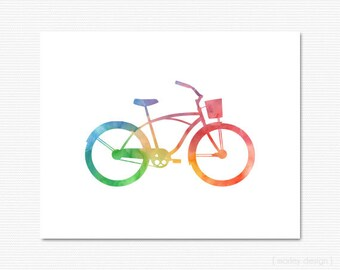 Bike Print Watercolor Bicycle Print Bicycle Wall Art Bike Digital Print Colorful Bike Poster Printable 8x10 Room Decor Home Decor Bike Print