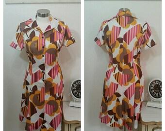 1970's Polyester, Print,  Day Dress, size M/L