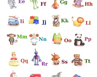 ABC Alphabet Poster A4 Print, Toy Alphabet, Nursery Decor, Baby Gift, Nursery Art Print, Alphabet Poster, Kid's Bedroom Art