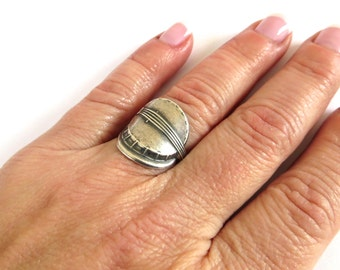 Steampunk Banjo Ring Sterling Silver Ox Finish or Antiqued Brass Ox Finish