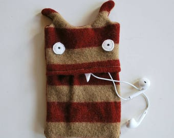Red and Tan Striped Monster iPhone Cozy - Cell Phone Case - Mobile Case - Wallet - Eco-friendly - Upcycled - Smart Phone Gadget