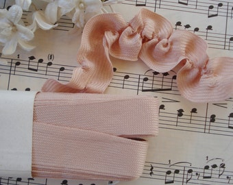 "1y Vintage Swiss 3/4"" Rosey Light Salmon Lush Rayon Ruching Ruffle Millinery Ribbon Trim French Doll Hat Dress Ribbonwork Ribbon Trim"