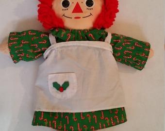 "Vintage Raggedy Ann Doll 1990's Stuffed Rag Doll Decorative Christmas Fabric/Cloth Doll Red Head Rag Doll Traditional Clothing Style 16"""