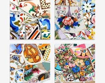 Square print set, Gaudi Barcelona, Bathroom wall decor, Art print set, Fine Art prints, Gallery wall prints,mosaic tiles, Art Nouveau