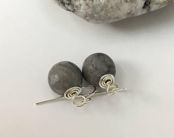 pale grey earrings,grey jasper earrings,grey drop earrings,grey jewellery,light grey earrings,grey earrings,grey jasper jewelry,grey,