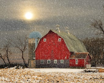 Red Barn in Snow # 167