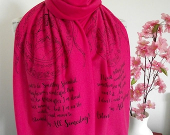 LITTLE WOMEN Literary Book Scarf Quote Scarf Christmas Gift Bookish Gift family love scarf book lovers scarf Romantic scarf